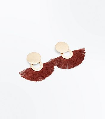 Dark Brown Disc Tassel Fan Earrings New Look