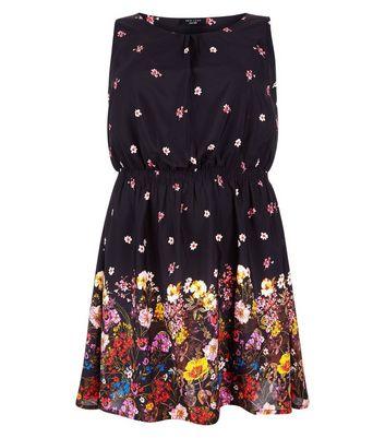 Curves Black Floral Border Print Dress New Look