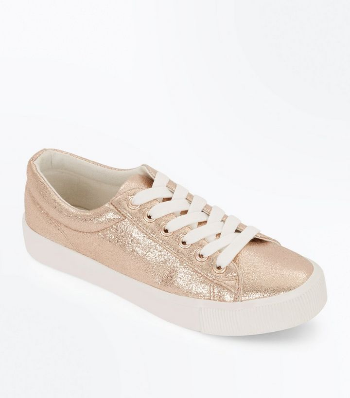 094fff769bd9 Girls Rose Gold Metallic Flatform Trainers