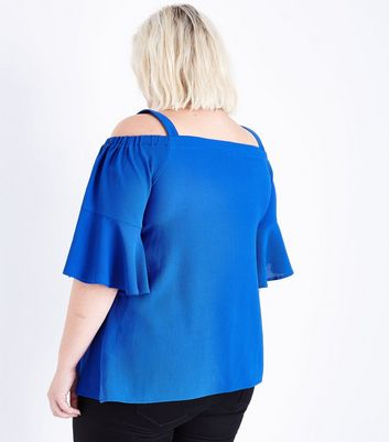 Curves Blue Cold Shoulder Bell Sleeve Top New Look