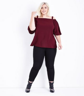 Curves Burgundy Cold Shoulder Bell Sleeve Top New Look