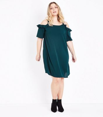 Curves Dark Green Frill Trim Cold Shoulder Dress New Look