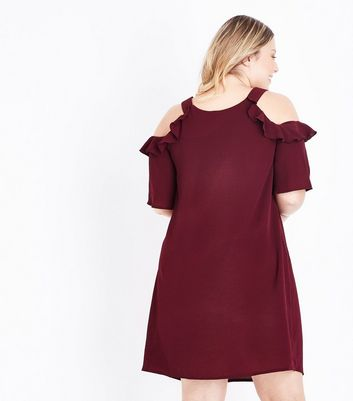 Curves Burgundy Frill Trim Cold Shoulder Dress New Look