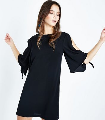 Black Crepe Tie Sleeve Tunic Dress New Look