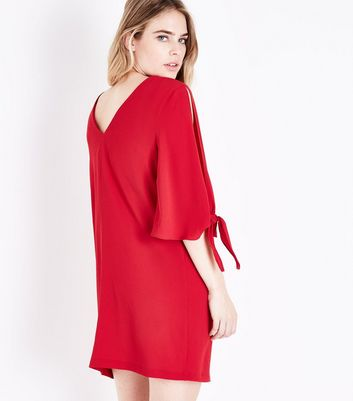 Red Crepe Tie Sleeve Tunic Dress New Look