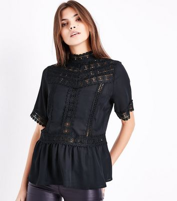 Black Crochet Yoke Peplum Top New Look