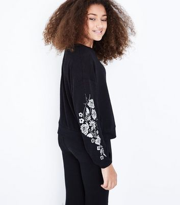 Teens Black Embroidered Sleeve Fine Knit Top New Look