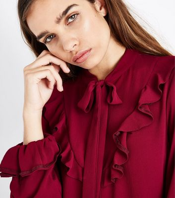 Cameo Rose Burgundy Pussybow Blouse New Look