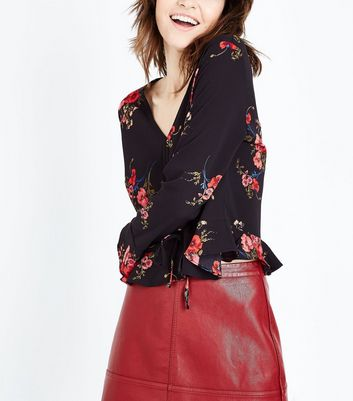 Cameo Rose Black Floral Print Ruched Front Top New Look