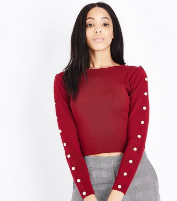 Cameo Rose Burgundy Button Sleeve Jumper New Look