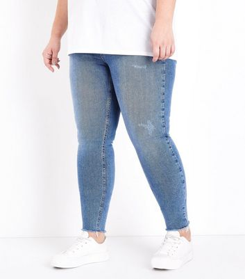 Curves Blue Distressed Fray Hem Skinny Jeans New Look
