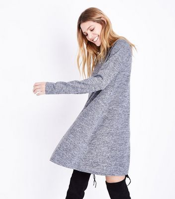 Tall Grey Marl Funnel Neck Fine Knit Swing Dress New Look
