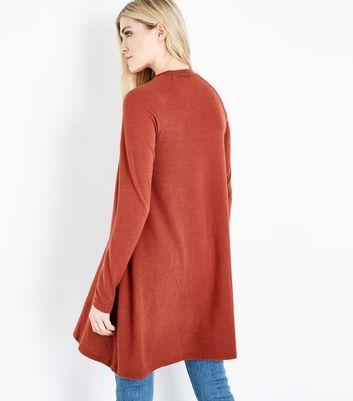 Tall Rust Funnel Neck Fine Knit Swing Dress New Look
