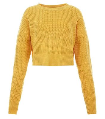 Teens Mustard Oversized Cropped Jumper New Look