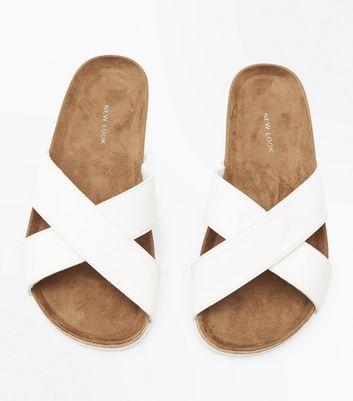 White Cross Strap Sliders New Look