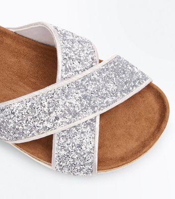 Silver Glitter Cross Strap Sliders New Look