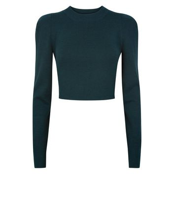 Cameo Rose Dark Green Puff Sleeve Jumper New Look