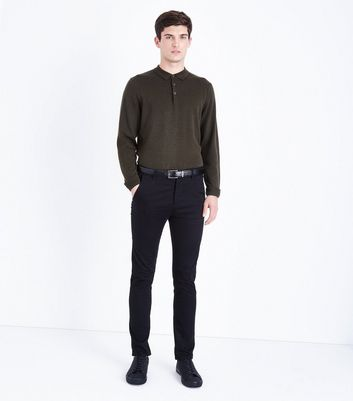 Khaki Long Sleeve Polo Neck Shirt New Look