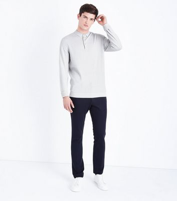 Silver Long Sleeve Polo Neck Shirt New Look