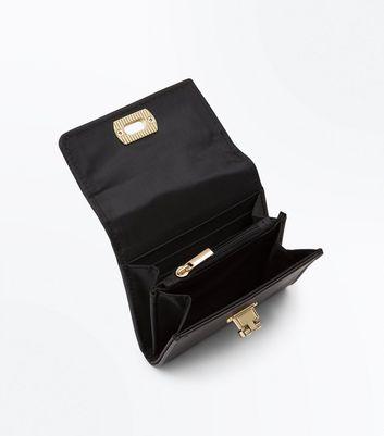 Black Flip Lock Front Purse New Look