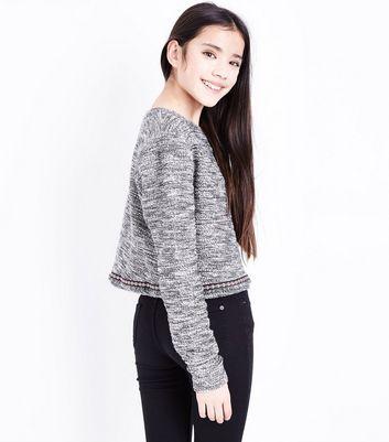 Teens Black Boucle Woven Pattern Trim Jumper New Look