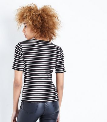 Black Stripe Frill Edge T-Shirt New Look