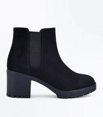 Black Suedette Chunky Heeled Chelsea Boots New Look