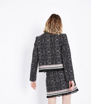 Black Jacquard Pom Pom Hem Jacket New Look