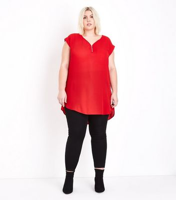 Curves Red Zip Front Longline Tunic Top New Look