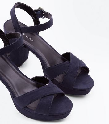 Navy Suedette Cross Strap Platform Heeled Sandals New Look