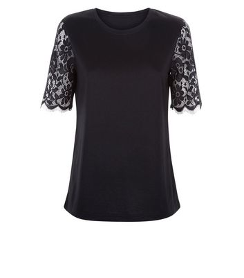 Cameo Rose Black Lace Sleeve T-Shirt New Look