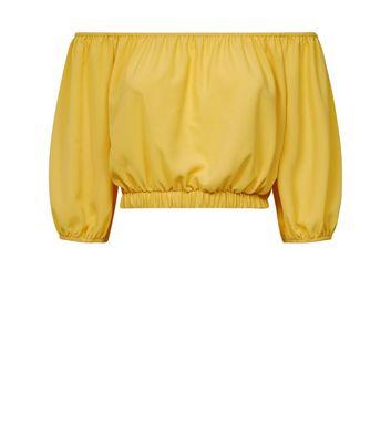 Cameo Rose Yellow Balloon Sleeve Crop Top New Look