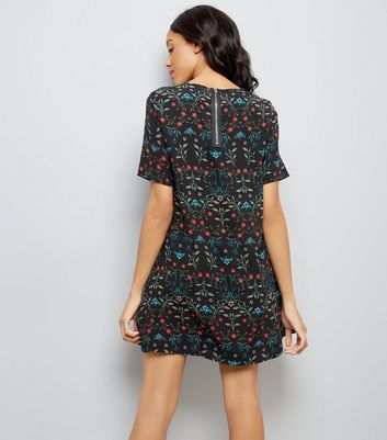 Apricot Black Floral Print Shift Dress New Look