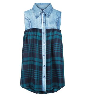 Apricot Blue Check Denim Sleeveless Shirt New Look