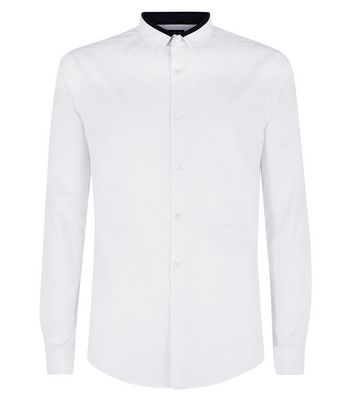 White Double Collar Trim Shirt New Look