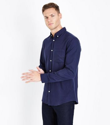 Navy Long Sleeve Oxford Shirt New Look