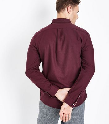 Burgundy Long Sleeve Oxford Shirt New Look