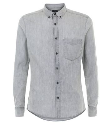 Dark Grey Denim Muscle Fit Stretch Shirt New Look