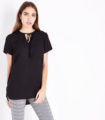 Black Tie Neck Step Hem Top New Look