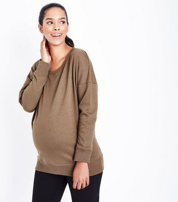 Maternity Khaki Round Neck Sweatshirt New Look