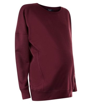 Maternity Burgundy Round Neck Sweatshirt New Look