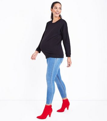 Maternity Black Drop Arm Sweatshirt New Look