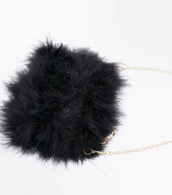 Black Faux Feather Chain Shoulder Bag New Look