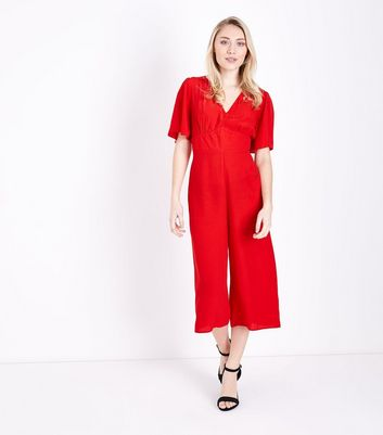 Petite Red Angel Sleeve Culotte Jumpsuit New Look