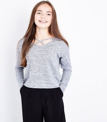 Teens Grey Lattice Neck Fine Knit Top New Look