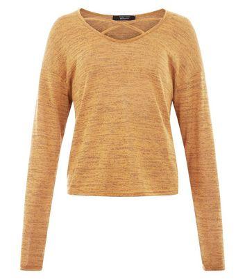 Teens Mustard Lattice Neck Fine Knit Top New Look