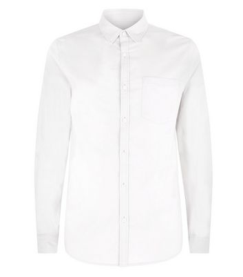 Cream Muscle Fit Stretch Oxford Shirt New Look