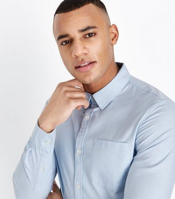 Pale Blue Muscle Fit Stretch Oxford Shirt New Look