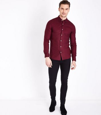 Burgundy Muscle Fit Stretch Oxford Shirt New Look