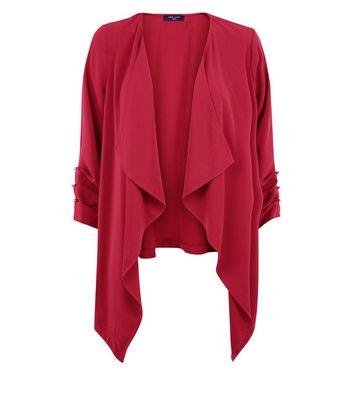 Tall Burgundy Button Sleeve Waterfall Blazer New Look